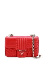Prada Small Quilted Soft Leather Shoulder Bag Red