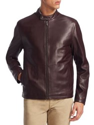 Saks Fifth Avenue Collection Zip Leather Bomber Jacket Burgundy
