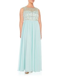 Decode 1.8 Plus Embellished Illusion Gown Mint