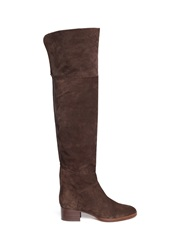 Chloe 'Sonia' Zip Suede Thigh High Boots Brown