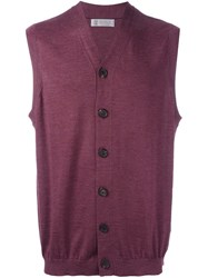 Brunello Cucinelli Sleeveless V Neck Cardigan Pink And Purple