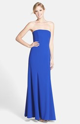 Women's Dessy Collection Strapless Crepe Trumpet Gown Sapphire