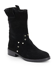 Love Moschino Suede Mid Calf Boots Black