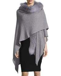Sofia Cashmere Blend Sequin Ruana Wrap W Fur Trim Gray