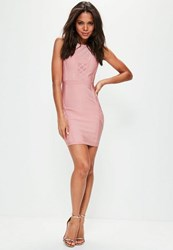 Missguided Pink Mesh Insert Bandage Bodycon Dress Blue