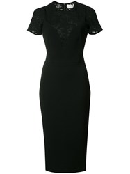 Victoria Beckham Lace Panel Dress Black
