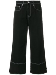 Msgm Cropped Flare Jeans Cotton Black