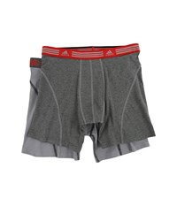 Adidas Athletic Stretch 2 Pack Boxer Brief Marl Heather Black Ray Red Grey Black Ray Red Men's Underwear Gray