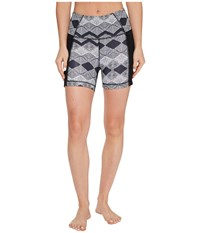 Lucy Yoga Flow Shorts Black Deco Diamond Print Women's Shorts Gray