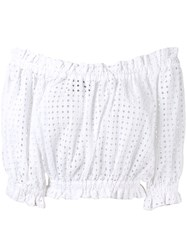 Paper London Off The Shoulder Broderie Anglaise Blouse White