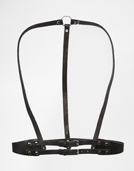 Black And Brown Leather Body Harness With Back Ring Detail And Waist Belt Black