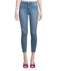 Parker Smith Bombshell Cropped Skinny Jeans With Light Distressing Blue