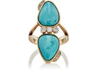 Feathered Soul White Diamond And Sleeping Beauty Turquoise Ring No Color