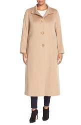 Fleurette Stand Collar Long Cashmere Coat Plus Size Camel