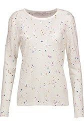 Kain Label Edith Paint Splattered Cotton And Modal Blend Top White