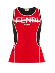 Fendi Contrast Panel Performance Tank Top Red