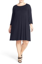 Plus Size Women's Eileen Fisher Lightweight Jersey Ballet Neck A Line Dress Midnight