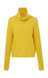 Allude Ribbed Cashmere Funnel Neck Sweater Yellow