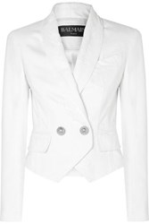 Balmain Button Embellished Double Breasted Distressed Denim Jacket White