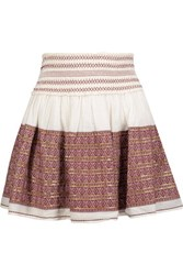 Loveshackfancy Beach Embroidered Embellished Cotton Gauze Mini Skirt Cream