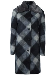 Jil Sander Navy Checked Contrast Collar Coat Blue