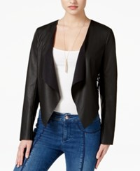Guess Faux Leather Lace Back Flyaway Jacket Jet Black