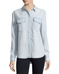 Velvet Heart Light Wash Chambray Blouse Indigo