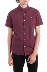 7 Diamonds Men's Colossus Woven Shirt Maroon