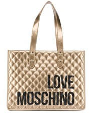 Love Moschino Logo Print Quilted Tote Bag Gold