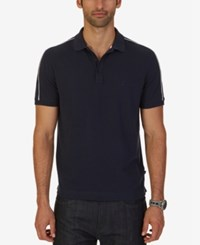 Nautica Men's Shoulder Stripe Pique Polo Navy