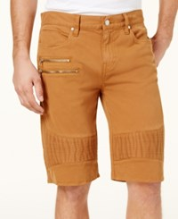 Guess Men's Pintucked Stretch Shorts Chipmunk Washed