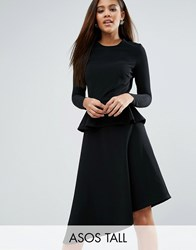 Asos Tall Skater Midi Dress With Peplum In Structured Rib Black
