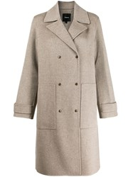Theory Double Breasted Coat Grey