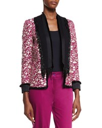 Etro Embroidered Beaded Fringe Jacket White Magenta