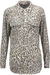 Equipment Slim Signature Leopard Print Washed Silk Shirt Army Green