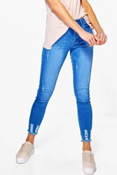 Boohoo Abby High Waist Destroyed Hem Skinny Jeans Blue