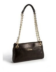 Calvin Klein Chainlink Leather Handbag Black Gold