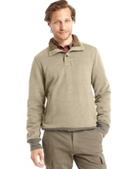 G.H. Bass And Co. Faux Fur Fleece Mock Sweater Rock Heather