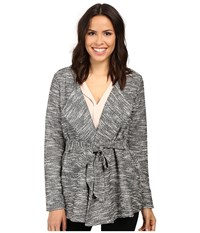 B Collection By Bobeau Brealyn Lurex Tie Waist Cardigan Black Mix Women's Sweater