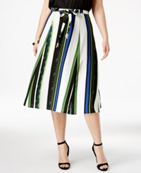 Ny Collection Plus Size Striped Midi Skirt Royal Cross