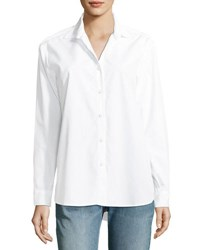 Kule The Hutton Button Front Oversized Oxford Shirt White