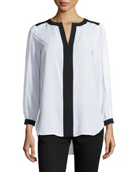 Paperwhite Colorblock Split Neck Tunic Black White