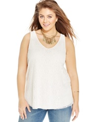 Eyeshadow Plus Size Sleeveless Lace Top