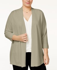Charter Club Plus Size Open Front Cardigan Only At Macy's Sedona Dust