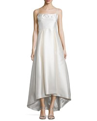 Black Halo Adashi Sleeveless High Low Gown Pearl White