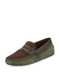 Tod's Gommini Colorblock Suede Penny Driver Brown Olive