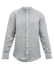 120 Lino Band Collar Slubbed Linen Poplin Shirt Grey