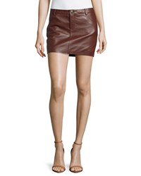 Haute Hippie Leather Mini Skirt Burgundy Red