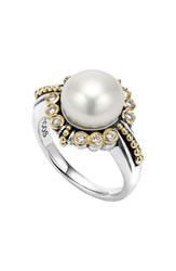 Lagos Luna Diamond And Pearl Ring Silver