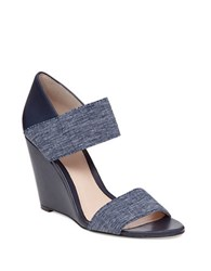 Vince Camuto Moona Leather Wedge Sandals Navy Blue